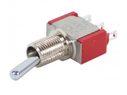 7101SH3ZQE, TOGGLE SWITCH/SPDT (single pole double throw), ON-NONE-ON, hole mount, silver plating, epoxy terminal seal.